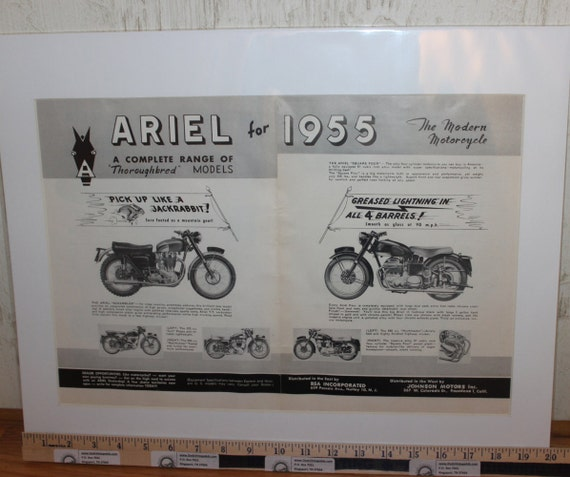 "1955 Ariel Motorcycle Range of Thoroughbred Models 16"" x 20"" Matted Vintage Motorcycle Print Ad Art / Poster 5503amot02m"