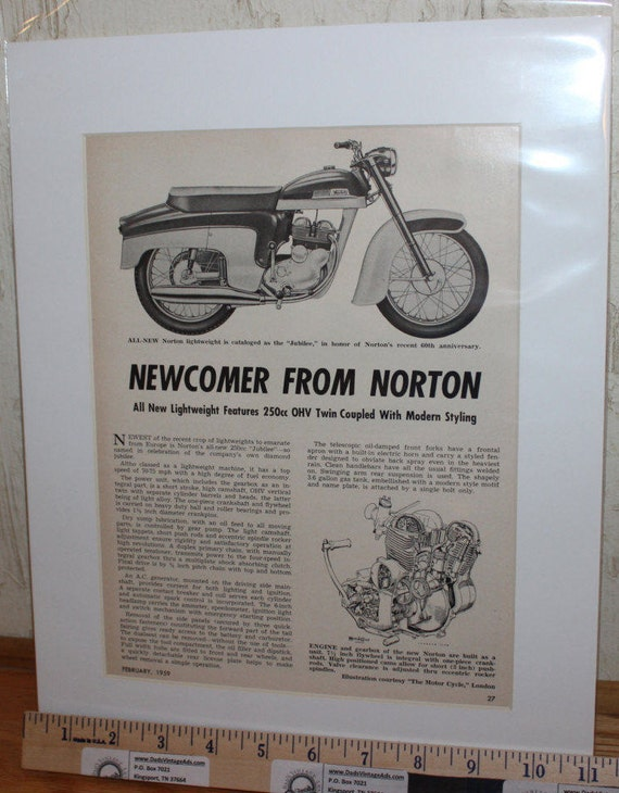 "1959 Norton 250 Jubilee 11"" x 14"" Matted Vintage Motorcycle Article Art #5902mcxm"