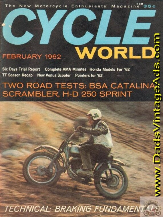1962 February Cycle World Motorcycle Magazine Back Issue #6202cw