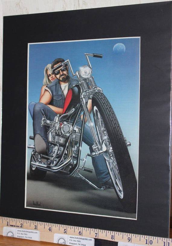 "David Mann ""Building Choppers'' 11'' x 14'' Matted Motorcycle Biker Art #0010ezrxmb"