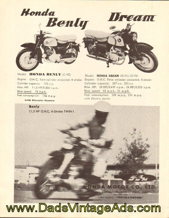 1959 Honda Dream and Benly Ad #5907amot07