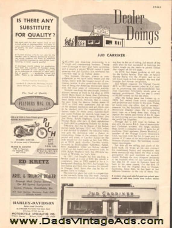 1951 Indian Motorcycle Dealer Jud Carriker 1-Page Article #e51ea01
