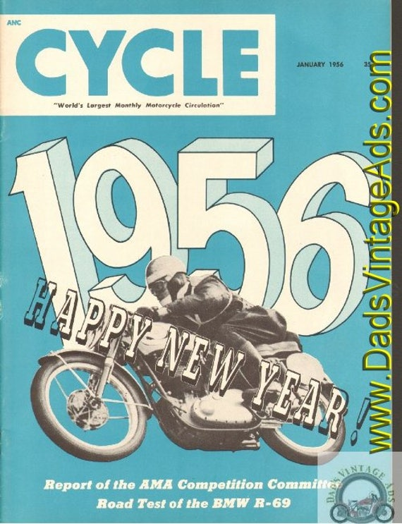 1956 January Cycle Motorcycle Magazine Back-Issue #5601cyc