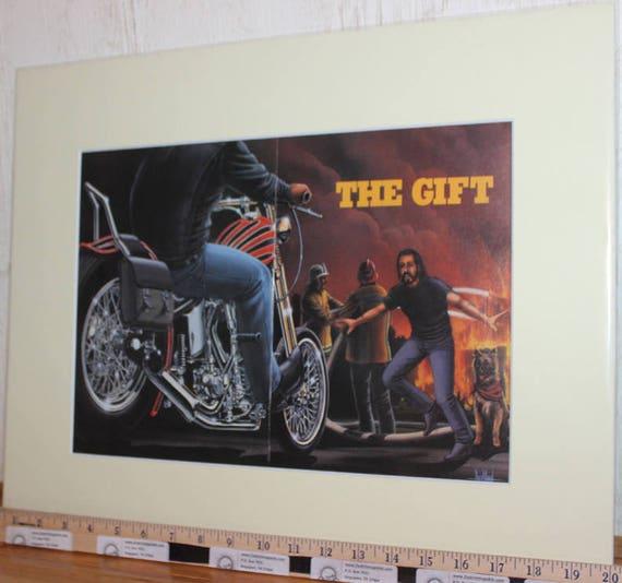 """David Mann """"The Gift"""" 16"""" x 20"""" Matted Motorcycle Biker Art #9512ezrxmc"""