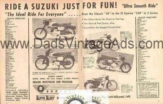 1962 Suzuki El Camino Magnum Collegian Trojan Motorcycle 2-Page Ad #nbq13