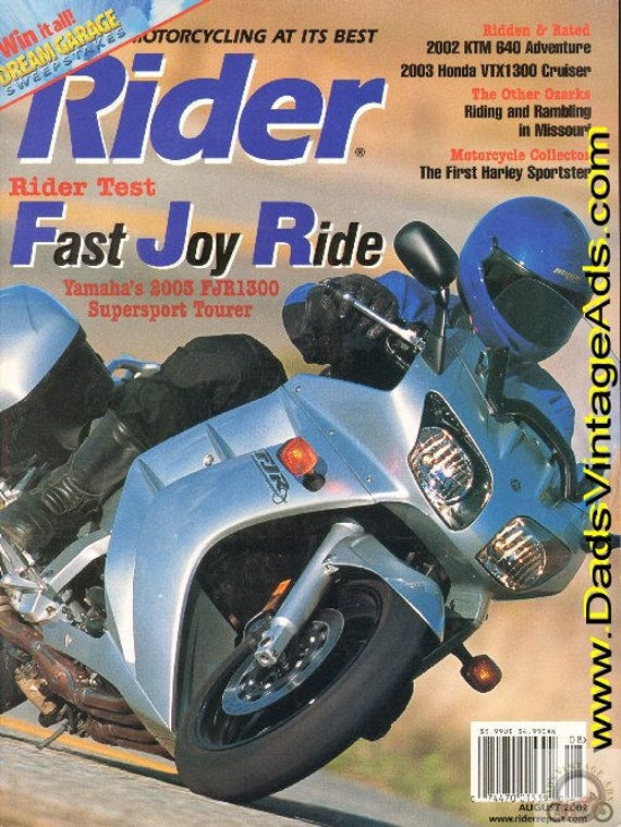 2002 August Rider Motorcycle Magazine Back-Issue #0208rdr