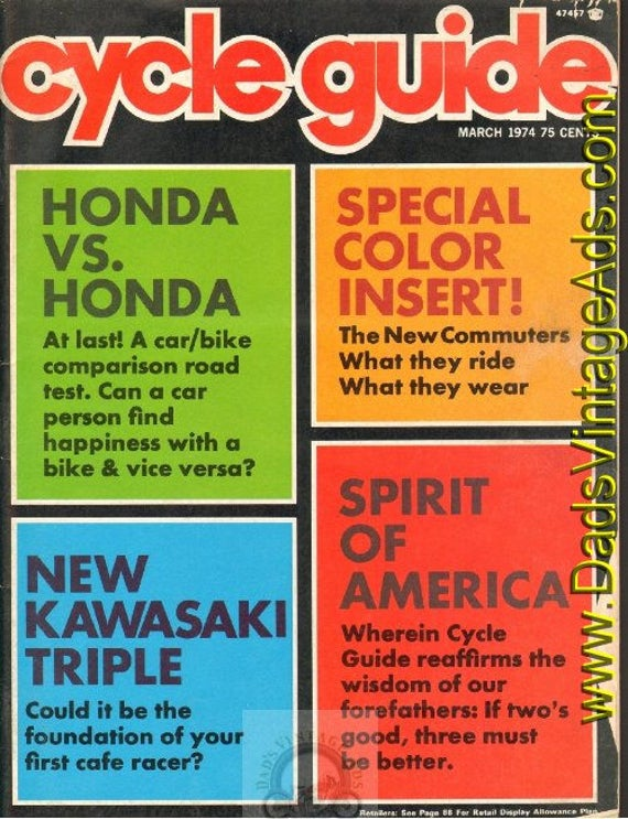 1974 March Cycle Guide Motorcycle Magazine Back Issue #7403cg