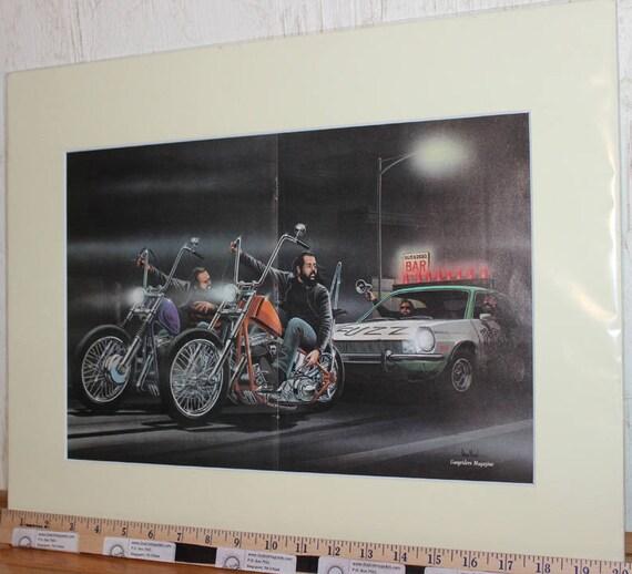"""David Mann """"Fuzz Busters"""" 16'' x 20'' Matted Biker Art #8704ezrxmc"""