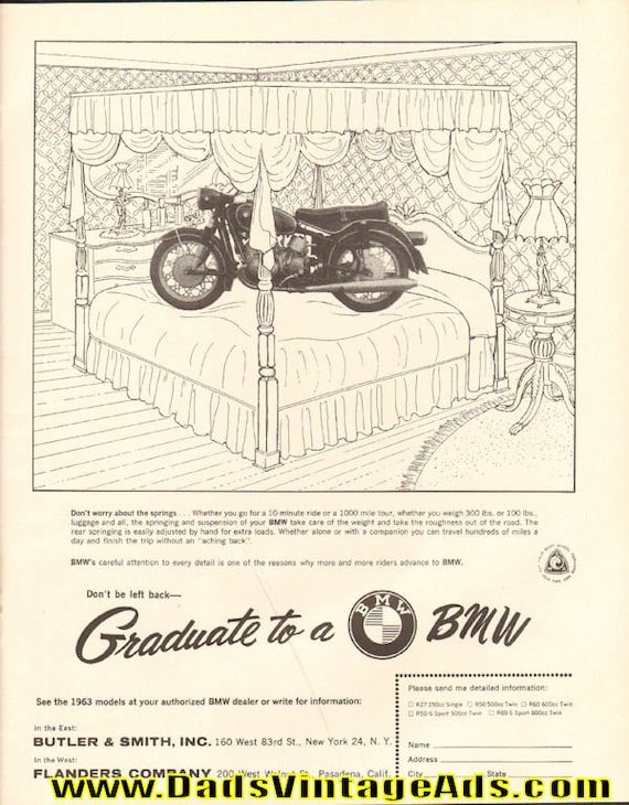 1963 BMW ''Don't Worry About The Springs'' Motorcycle Ad #6305amot09