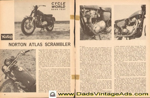 1964 Norton Atlas Scrambler Road Test 4-Page Article #d64da16