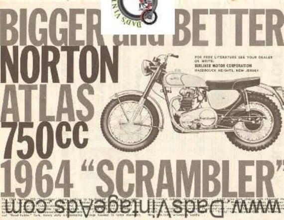 1964 Norton Atlas 750cc Scrambler Ad #e63la02