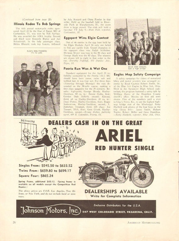 1950 Ariel Red Hunter Single 1/2-Page Vintage Motorcycle Ad #5006amot04