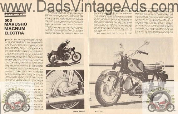 1967 500 Marusho Magnum Electra Motorcycle Road Test 4-Pg Photo Specs Article #ncl23