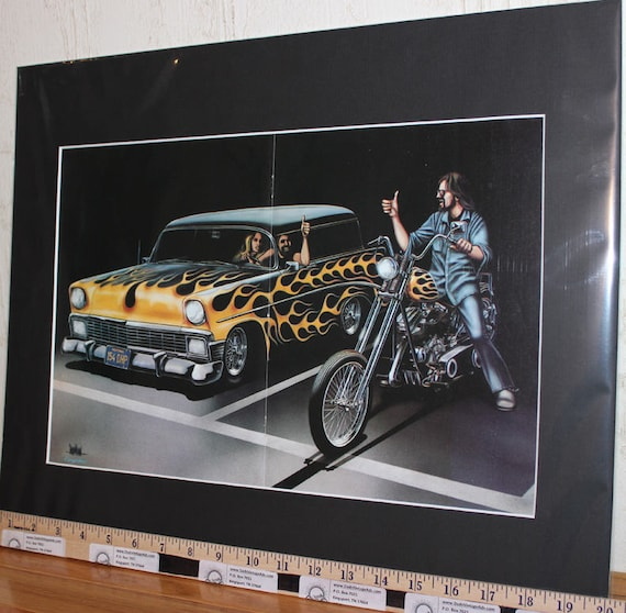 "David Mann ""1956 Chevy / Chopper Flames'' 16'' x 20'' Matted Motorcycle Biker Art #7911ezrxmb"