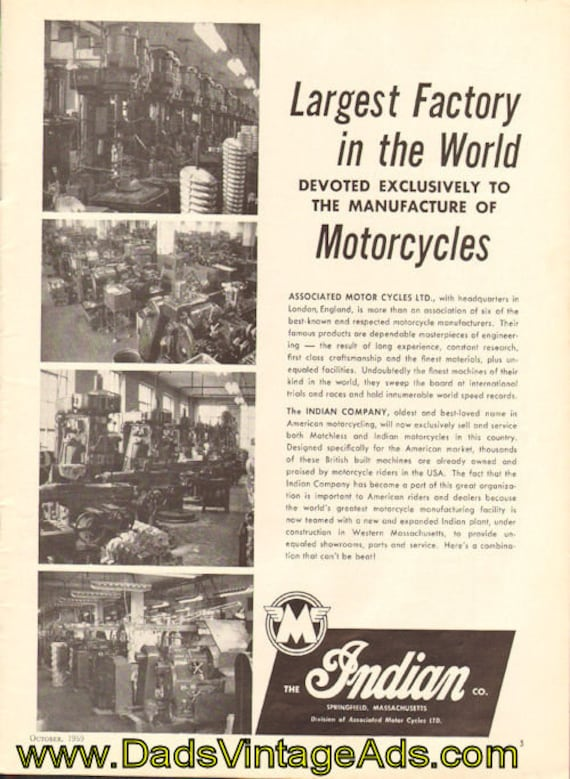 1959 Indian Motorcycle Factory Ad #5910amot06