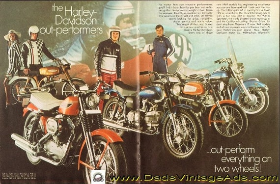 1969 Harley-Davidson - outperform everything on two wheels 4-Page Ad #de69da14