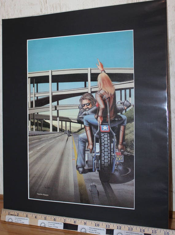 "David Mann ""Busted Belt Bummer"" 16'' x 20'' Matted Motorcycle Biker Art #8803ezrxmb"