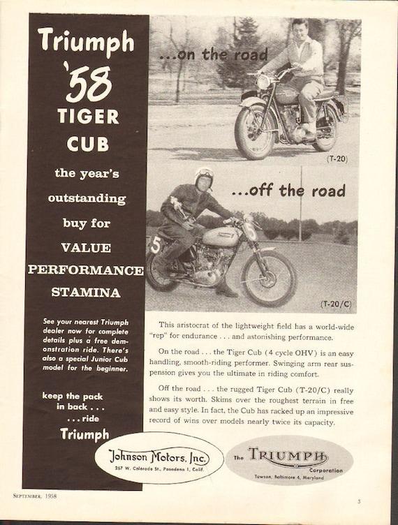 1958 Triumph Tiger Cub Vintage Motorcycle Ad #5809amot10