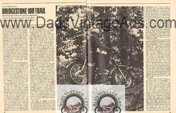 1968 Bridgestone 100 Trail Motorcycle Road Test 3-Page Photo Article #nbo03