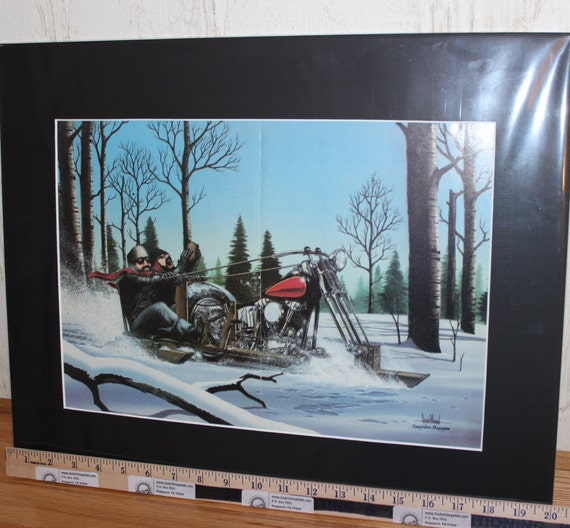 "David Mann ""Chopper Sled"" Biker Art Easyriders Centerfold 16'' x 20'' Matted Motorcycle Poster #xx26ezrxm"
