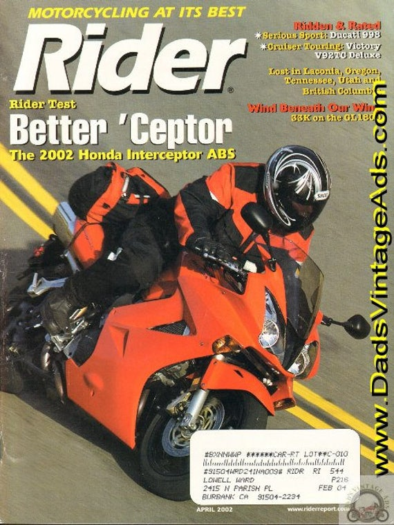 2002 April Rider Motorcycle Magazine Back-Issue #0204rdr