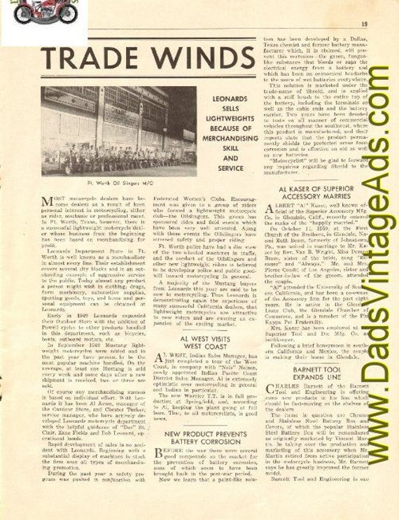 1950 Trade Winds Motorcycle News Bits 3-Page Article #t50ka07