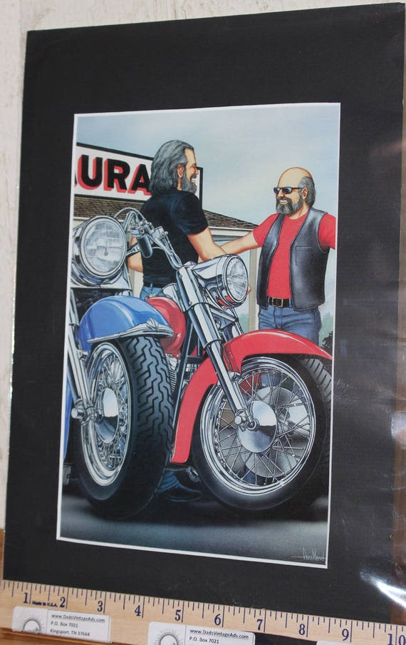 David Mann ''Reunion Ride'' Matted Motorcycle Biker Art #0103ezrxmb
