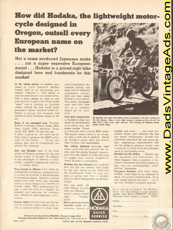 1972 Hodaka - the lightweight motorcycle designed in Oregon Ad #e72ea08