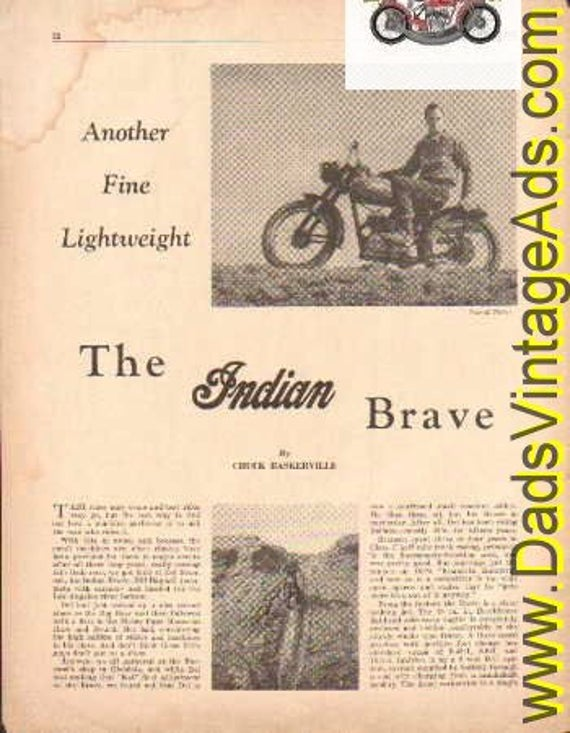 1952 Indian Brave - Another fine lightweight -tested by Del Branson 2-Pg Article #t52ba05