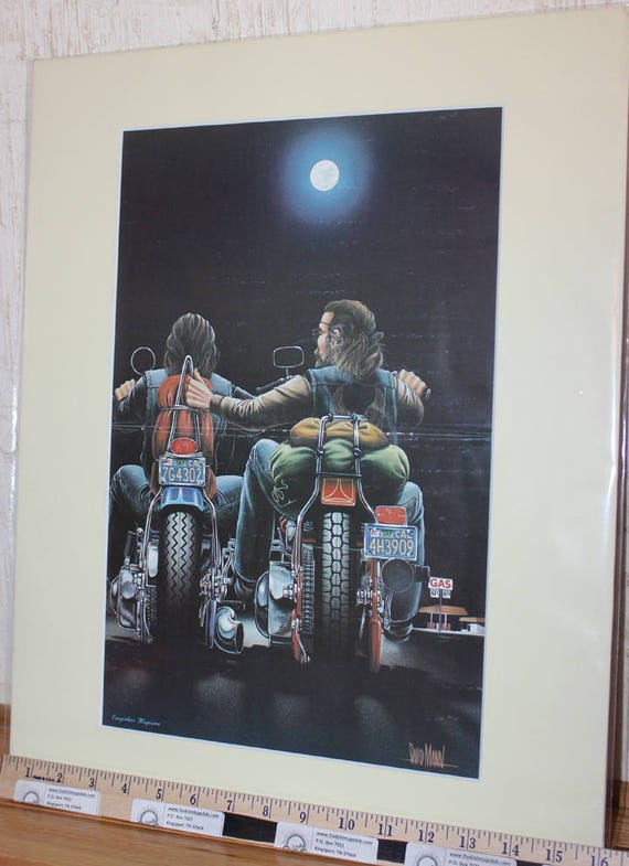 David Mann ''Tow'' 16'' x 20'' Matted Motorcycle Biker Art #7810ezrxmc