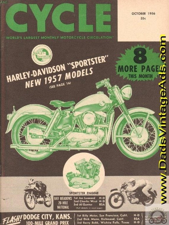1956 October Cycle Motorcycle Magazine Back-Issue #5610cyc