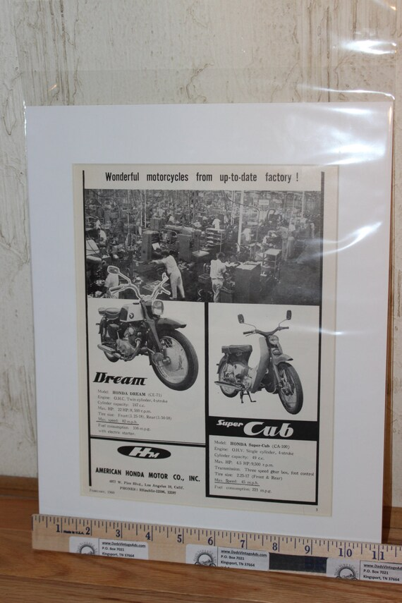 "1960 Honda Dream & Super Cub 11"" x 14"" Matted Vintage Motorcycle Ad #6002amot06m"