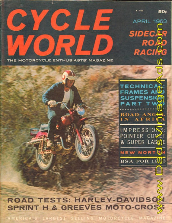 1963 April Cycle World Motorcycle Magazine Back-Issue #6304cw