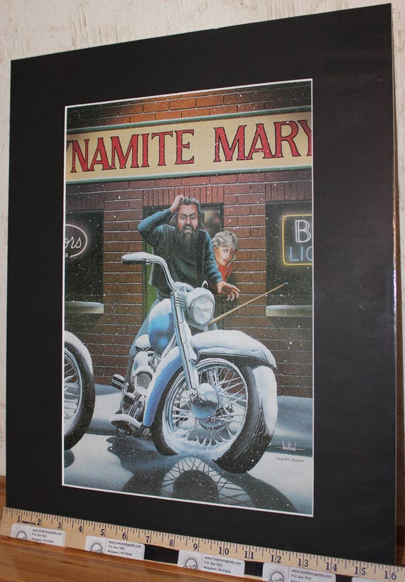 David Mann ''Dynamite Mary's'' 16'' x 20'' Matted Biker Art #8901ezrxmb