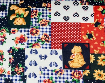 SOLD PER METRE Polycotton Fabric  Teddy Bear Nursery Baby Material CRAFTS