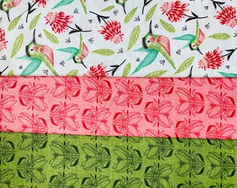 Humming Bird Floral Cotton Craft Fabric Spring Cotton Fabric - Sold By The Metre, Half-Metre and Fat Quarter Baby Nursery Decor