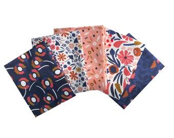 Quilting Fabric Orange Purple Flowers Dark Blue BG Fat Quarters 100/% Cotton