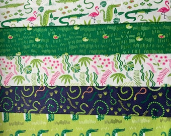 Everglades Navy Snakes Swamp Kids Cotton Fabric Width Approx 112cm