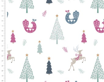 White Scandi Christmas Fabric Traditional Reindeer Xmas Fabric Quilting Upholstery Fabric Fat Quarter Sold By The Metre Christmas Fabric