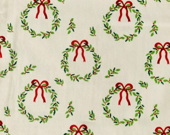 Beige Traditional Christmas Wreath Fabric Snowy Christmas Trees Craft Quilting Upholstery Fabric Fat Quarter Sold By The Metre