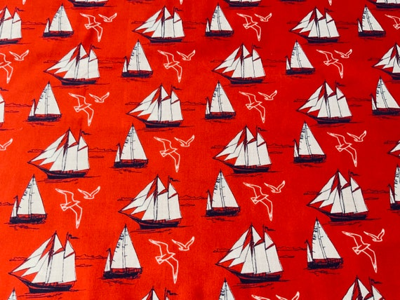Sail Boats on White 100/% cotton fabric 44 inch// 110cm Lighthouse nautical sea