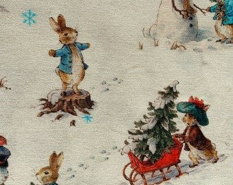 White Peter Rabbit Traditional Christmas Fabric Quilting Upholstery Fabric Fat Quarter Sold By The Metre Christmas Fabric Beatrix Potter