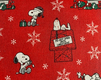 Red Snoopy Traditional Christmas Fabric Peanut Quilting Upholstery Fabric Fat Quarter Sold By The Metre Christmas Fabric Charlie Brown