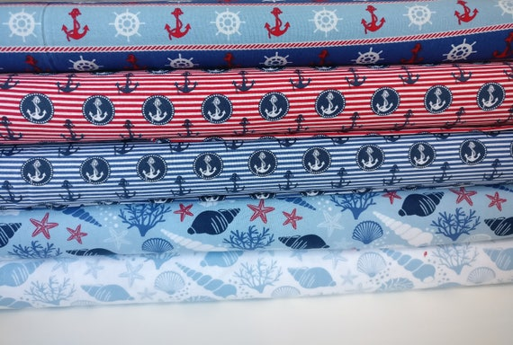 Sea Front Beach Boats 100/% Cotton High Quality Fabric Material *3 Sizes*
