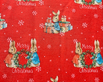 Red Peter Rabbit Traditional Christmas Fabric Quilting Upholstery Fabric Fat Quarter Sold By The Metre Christmas Fabric Beatrix Potter