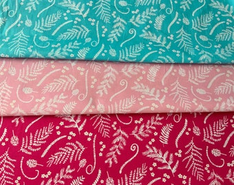 Hawaiian Floral Cotton Fabric Blue Pink Quilting Fabric Upholstery Quilt Fabric