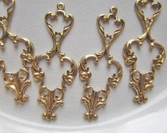 Sterling Silver Vintage Filigree Swirl Cutout Simulated Carnelian Pendant Charm