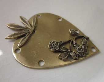 Handmade Jewelry Component, Solid Brass Heart with Soldered Leaf and Floral Design, 51mm x 36mm