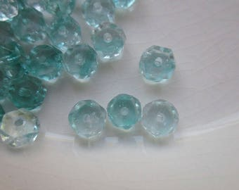 Faceted Glass Beads, Clear with Green Givré, 7mm x 3mm Rondelle