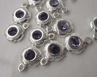 12 Charms, Silver-plated Brass with 2mm Tanzanite Swarovski Crystal, 8mm x 5mm